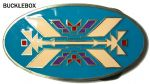 North American Indian Design Belt Buckle + display stand. Code KJ4
